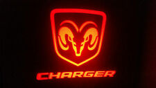 2PC RED CHARGER 5W LED EMBLEM DOOR PROJECTOR GHOST SHADOW PUDDLE LOGO LIGHT