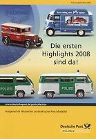 Deutsche Post Prospekt Modellautos Highlights 2008 Automodelle Polizei T3 T2a