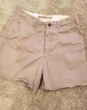 Abercrombie & Fitch Chino Shorts Mens size 32 Flat Front Button Fly Gray
