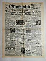 N645 La Une Du Journal L'humanité 10 octobre 1935 axoum fascistes éthiopiens