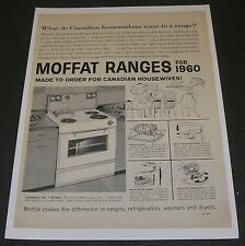 Print Ad 1960 APPLIANCE Moffat Range Stove Made to Order for Canadian Housewife