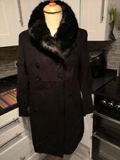 PRÉCIS Coat, Black , Double Breasted , UK 16, Faux Fur Collar  Wool Cashmere VGC