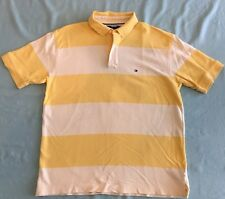 Tommy Hilfiger Men's Polo Shirt Yellow/White Short Sleeve Striped Sz L