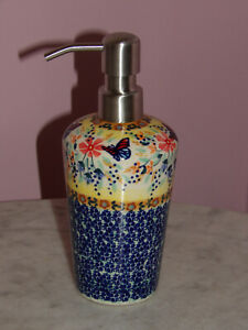 Polish Pottery Lotion or Soap Dispenser!  UNIKAT Signature Butterfly Summer!