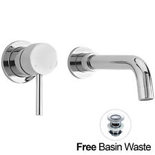 REED WALL MOUNTED BATHROOM CHROME BASIN MONO MIXER TAP CURVED SPOUT *FREE WASTE*