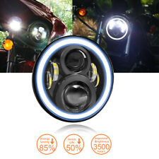 "7"" Inch Round LED Halo Angel Eye Motorcycle Headlight fit Harley Jeep Land Rover"