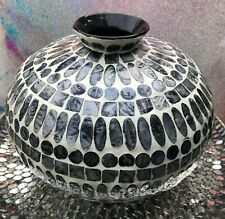 Statement mosaic vase pearlescent mosaic tiles shades of grey 29cm diameter