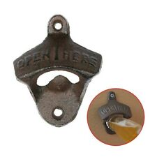 BOTTLE OPENER Cast Iron Wall Mounted Bar Heavy Vintage Rustic Antique Openers