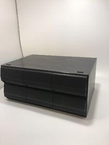 Black Ash Vintage Retro Cassette Tape Storage Holder 6 drawer For 72 Tapes Total