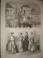 INAUGURAZIONE Statua di Teniers a ANVERSA Belgio 1867 Old print