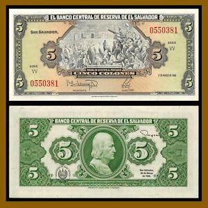 El Salvador 5 Colones, 1988 P-134b Serie VV Banknote Unc