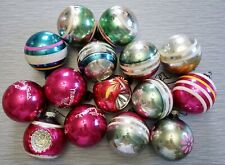 15 Vintage Shiny Brite Mercury Glass Christmas Tree Ornaments Indent Striped