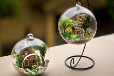 Wooden Dollhouse DIY Miniature 3D Handwork Model Kit In Glass Ball + LED Light
