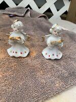 Set of 2 Vintage Japan Angel Figurines with Book  Christmas K8
