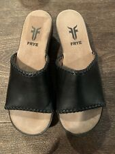 Frye Open Toe Leather And Wood Mules Sz 7.5