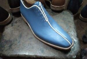 Handmade Mens Blue Leather Formal Shoes, Men Oxfords Blue Dress Shoes