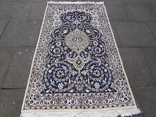 Fine Old Traditional Hand Made Persian Rug Wool Silk Blue Cream Rug 198x116cm