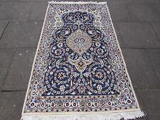 Bien viejo tradicional hecha a mano de lana Alfombra Persa 198x116cm Alfombra de Seda Azul Crema