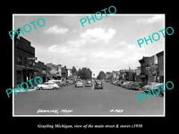 OLD LARGE HISTORIC PHOTO OF GRAYLING MICHIGAN, THE MAIN STREET & STORES c1950