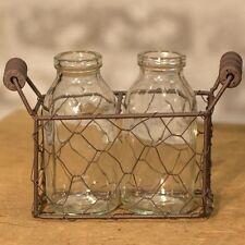 Rusty Chicken WIRE Basket w/ 2 Small Bottles