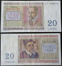 20 francs - BELGIUM - 1956 - banknote bill papermoney - FREE SHIPPING WORLDWIDE
