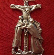 Lrg Sterling Silver Filled St John & Virgin Mary Pendant Rare Crucifix New Cross