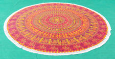 Maroon Yellow Lady Elephant Mandala Round Beach Throw Tapestry Round Table Cover