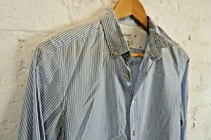 Paul Smith Blue & White Striped Shirt 100% Cotton Made In Italy - Size Small