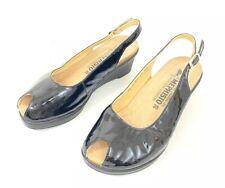 Mephisto Nastasia Wedges Size 35 US 5 Slingback Heels Black Leather Peep Toe