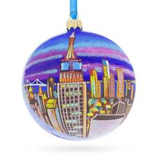 New York City Empire State Building Glass Ball Christmas Ornament 4 Inches