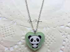 Collana resina panda kawaii cuore handmade