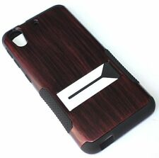 For HTC Desire 626 626S - HARD & SOFT RUBBER HYBRID CASE COVER BROWN WOOD ARMOR