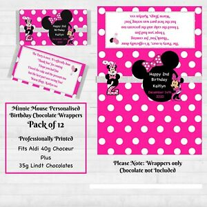 Minnie Mouse Girls Birthday  Personalised Chocolate Wrapper pkt of12 Thank you