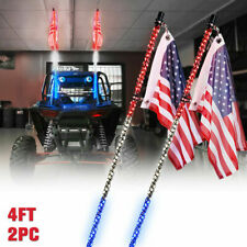 Xprite Pair of Red White Blue 4ft Spiral Led Whip Light Antenna with U.S. Flag
