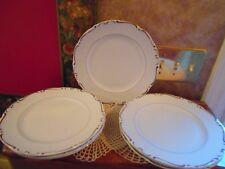 Vintage Modern China HEIRLOOM Institute 7 Dinner Plates White Platinum Rim
