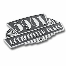 Art Deco Rockefeller Style House Address Signs In Solid Cast Polished Aluminium