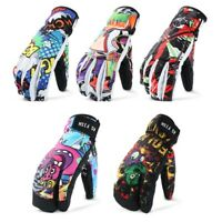 Men Professional Snowboard Ski Women Gloves 3 Finger Mittens Winter Leather PU
