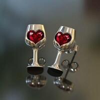 Fashion Women Goblet Heart Earrings Stud Dangle Earrings Jewelry Gift