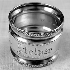 Double waisted napkin ring bright cut & machine engraved sterling OSCAR STOLPER