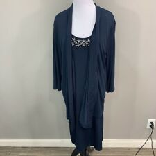Covington Woman Shrug Dress Blue Long Sleeves Rhinestone Stretch Plus 3X