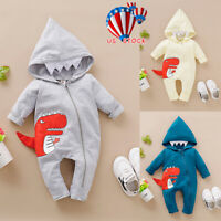 Newborn Infant Baby Boy Girl Dinosaur Hooded Romper Jumpsuit Clothes Outfit US