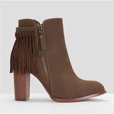 Womens Ladies High Block Heel Tassel Fringe Zip up Ankle BOOTS Shoes Size 2-7 UK 7 Khaki