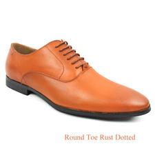 Mens Black Cognac Rust Dress Shoes Lace Up Oxfords Leather Lining Suede AZAR MAN