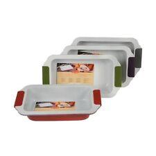 Teglia da forno in metallo 30x17x6 cm con manici in silicone colorati