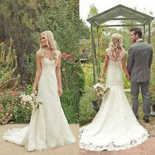 White/Ivory Mermaid Wedding Dress Lace Bridal Gown Custom Size 6-8-10-12-14-16++