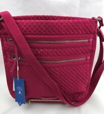 Vera Bradley NWT Classic PASSION PINK Iconic Triple Zip Hipster Free Ship Exact