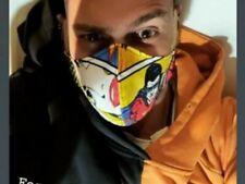 Mascherina protettiva viso lavoro artigianale regolabile tessuto stampato