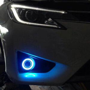 "2x 2.5"" COB LED Fog Light Projector Ice Blue Car Halo Angel Eyes Ring DRL Light"