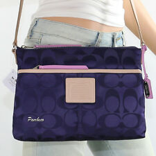 NWT Coach Signature Nylon Shoulder Bag Crossbody Hippie 24861 Navy Blue RARE