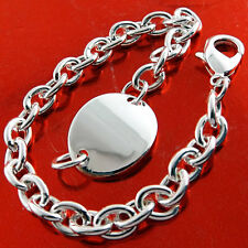 Silver S/F Solid Link Cuff Design Id Bracelet Bangle Genuine Real 925 Sterling
